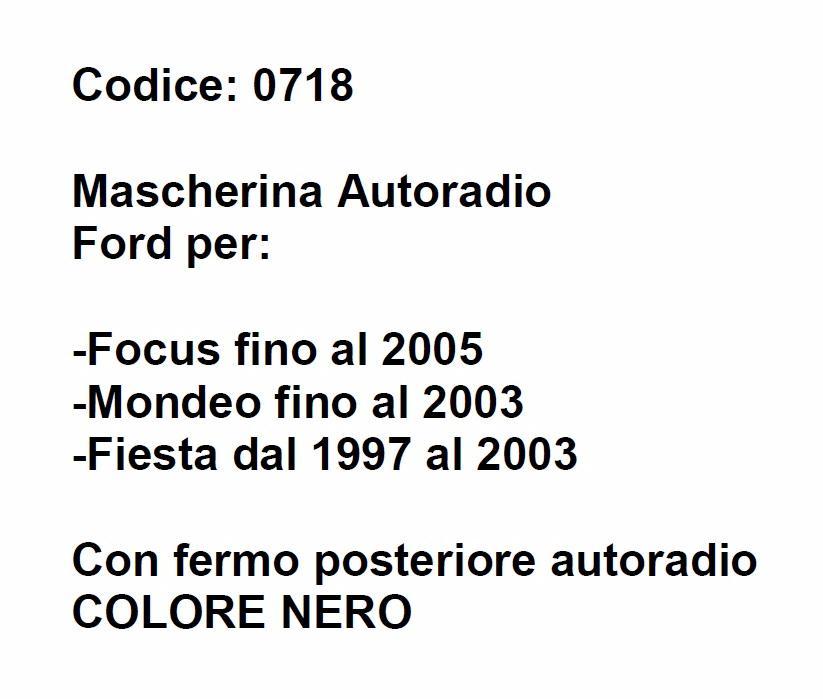 ford focus dal 1998 al 2004 kit sostituzione autoradio